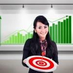 Businesswoman meet target profit sales — Stock Photo #19884669