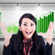 Stock Photo: Excited businesswoman with profitable bar chart