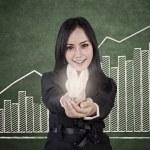 Businesswoman has bright idea to increase profit — Stock Photo #19967939