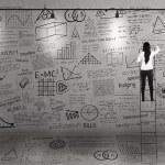 Teacher climb to write on whiteboard — Stock Photo #19967995