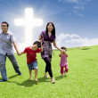 Asian family stroll in Easter — Stockfoto