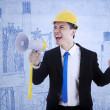 Foto Stock: Business contractor using speaker