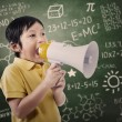 Boy student announce using speaker — 图库照片 #21135853