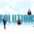 Business global solutions in blue — Stock Photo