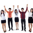 Business team raised hands in victory — Foto Stock