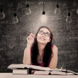 Beautiful student has bright idea — Foto Stock
