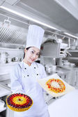 Chef serving two dishes — Stock Photo