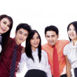 asiatische Business-Team in ein Wirrwarr — Stockfoto
