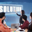 Business meeting with presentation a solution — Stock Photo
