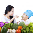Healthy family eating - isolated — Stock Photo #23268644