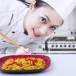 Asian chef prepare noodle at work — Foto Stock