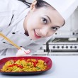 Asian chef prepare noodle at work — Stock Photo
