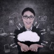 Businesswoman offers cloud computing — Stok fotoğraf