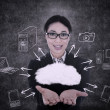 Businesswoman offers cloud computing — Stock fotografie