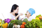 Healthy family eating - isolated — Stock Photo