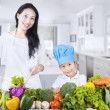 Asian family and healthy vegetable — Stock Photo