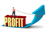 Businessman pull profit sales up — Stock Photo