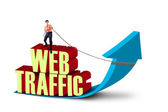 Businessman pull web traffic — Stock Photo
