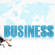 Businesswoman successful globally — Zdjęcie stockowe