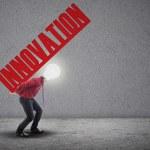 Light bulb head carry innovation — Stock Photo #23597051