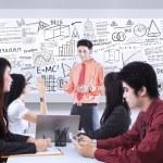 Business presentation on whiteboard — Stock Photo