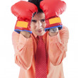 Businessman with boxing gloves - isolated - Stock Photo