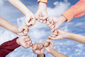 Hands of unity outdoor — Stock Photo