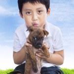 男孩抓住小狗 — 图库照片 #23940247