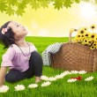 Little girl having picnic — Stock Photo