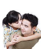 Asian couple isolated on white — Stock Photo