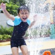 Happy boy play water in waterpark - Stock Photo