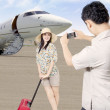 Stock Photo: Asian traveller arrive at airport