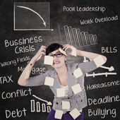 Businesswoman has headache and problems — Stock Photo