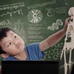 Little boy learns human anatomy — Stock Photo #24691967