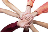 Close-up of join hands — Stock Photo