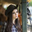 Foto Stock: Beautiful girl at horse ranch