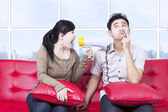 Girlfriend shout using megaphone in apartment — Foto Stock