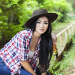 Attractive woman with cowboy hat — Stock Photo