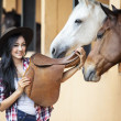 Beautiful woman rider at horse ranch — 图库照片