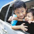 Stock Photo: Cute sibling in car