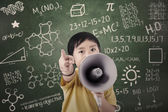 Boy student announce with speaker at class — Foto Stock