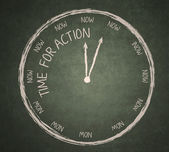 Time for Action on blackboard — 图库照片