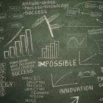 Business drawing on blackboard — Stock Photo