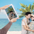 Stock Photo: Asicouple at Hawaii beach