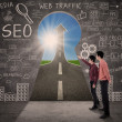 Business partner look for SEO success concept - Stockfoto