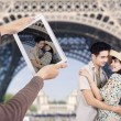 Royalty-Free Stock Photo: Romantic couple under Eiffel Tower Paris