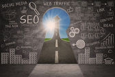Business SEO doodle on blackboard with success road — Stock Photo