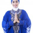 Beautiful Asian Muslim woman smiling isolated — Foto Stock