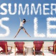 Stock Photo: Summer sale cloud with girl jumping over beach chairs