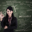 Businesswomapproval gesture in class — Stock Photo #26336081